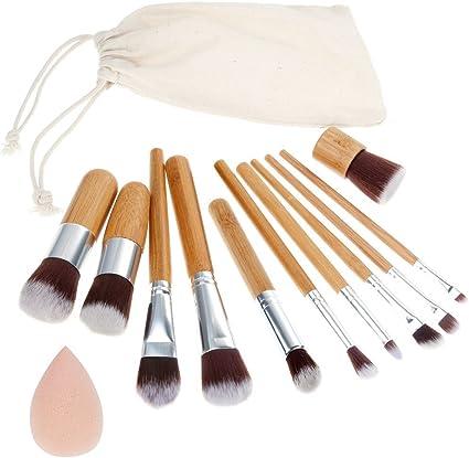 Rovtop 13 en 1, 11 Unidades Brochas y Pinceles de Maquillaje con Mango de Bambú/Juego de Cepillo de Maquillaje y Esponja para Maquillar, Incluido el Estuche: Amazon.es: Belleza