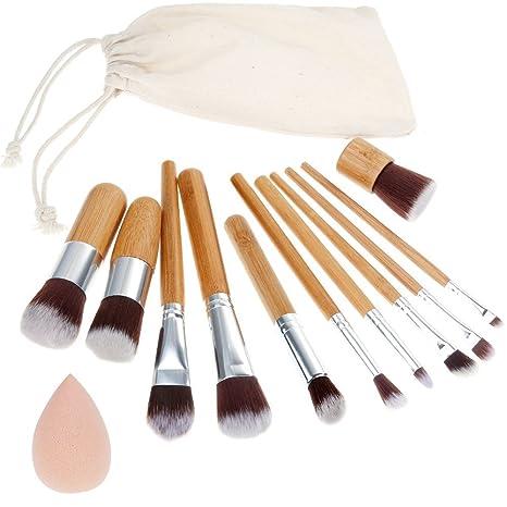 Rovtop 13 en 1, 11 Unidades Brochas y Pinceles de Maquillaje con Mango de Bambú /Juego de Cepillo de Maquillaje y Esponja para Maquillar, Incluido el ...