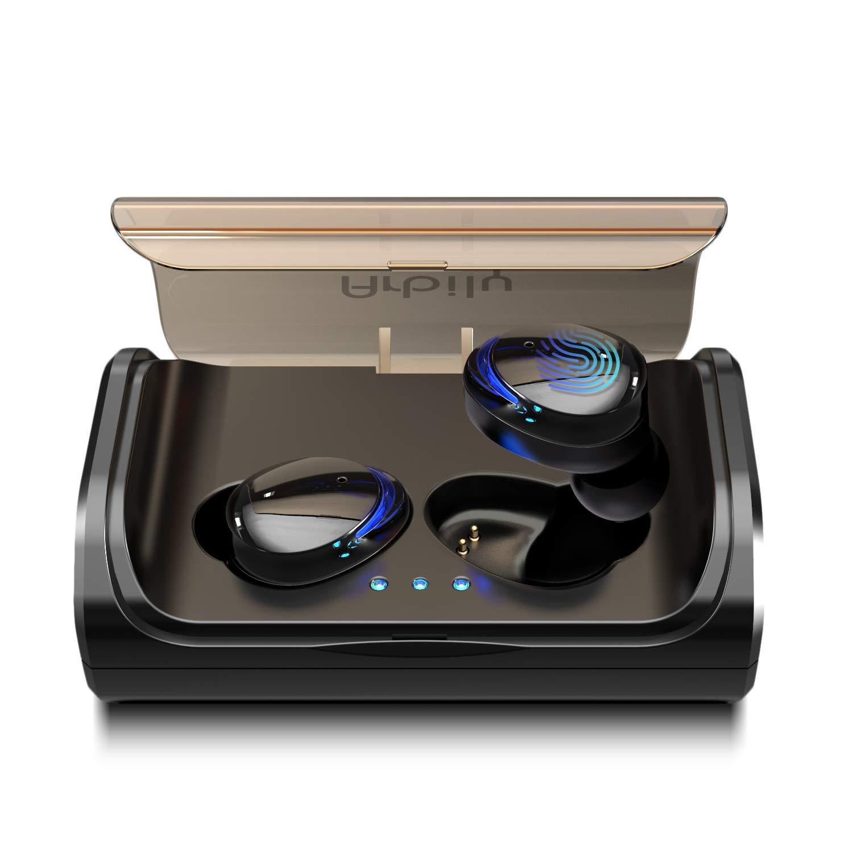Arbily Bluetooth Earbuds, Wireless Headphones Bluetooth 5.0 Stereo Hi-Fi Sound IPX7 Waterproof 90H Playtime Wireless Earphones with 3000mAH Charging Case (Blue light)