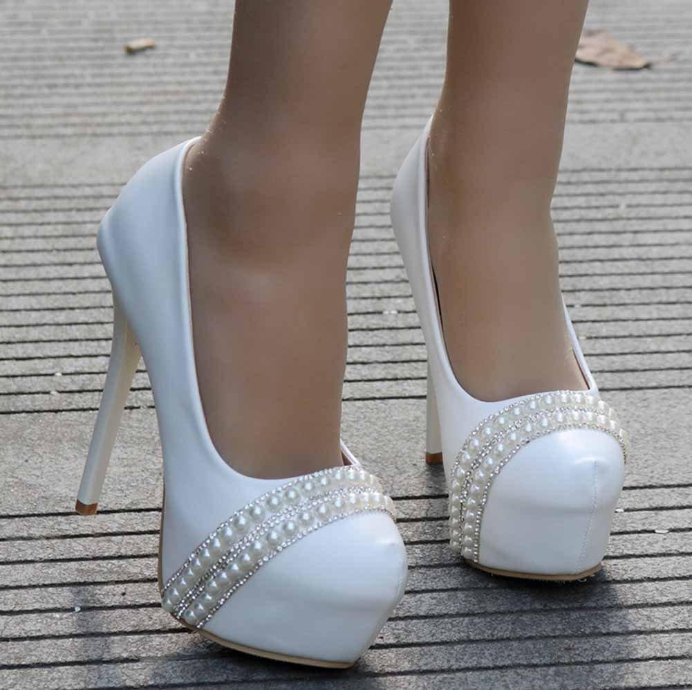 Women 14 CM High Heels Pumps Romantic Wedding Shoes Fashion Pearl Shoes Comfort Platform Shoes White Large Size