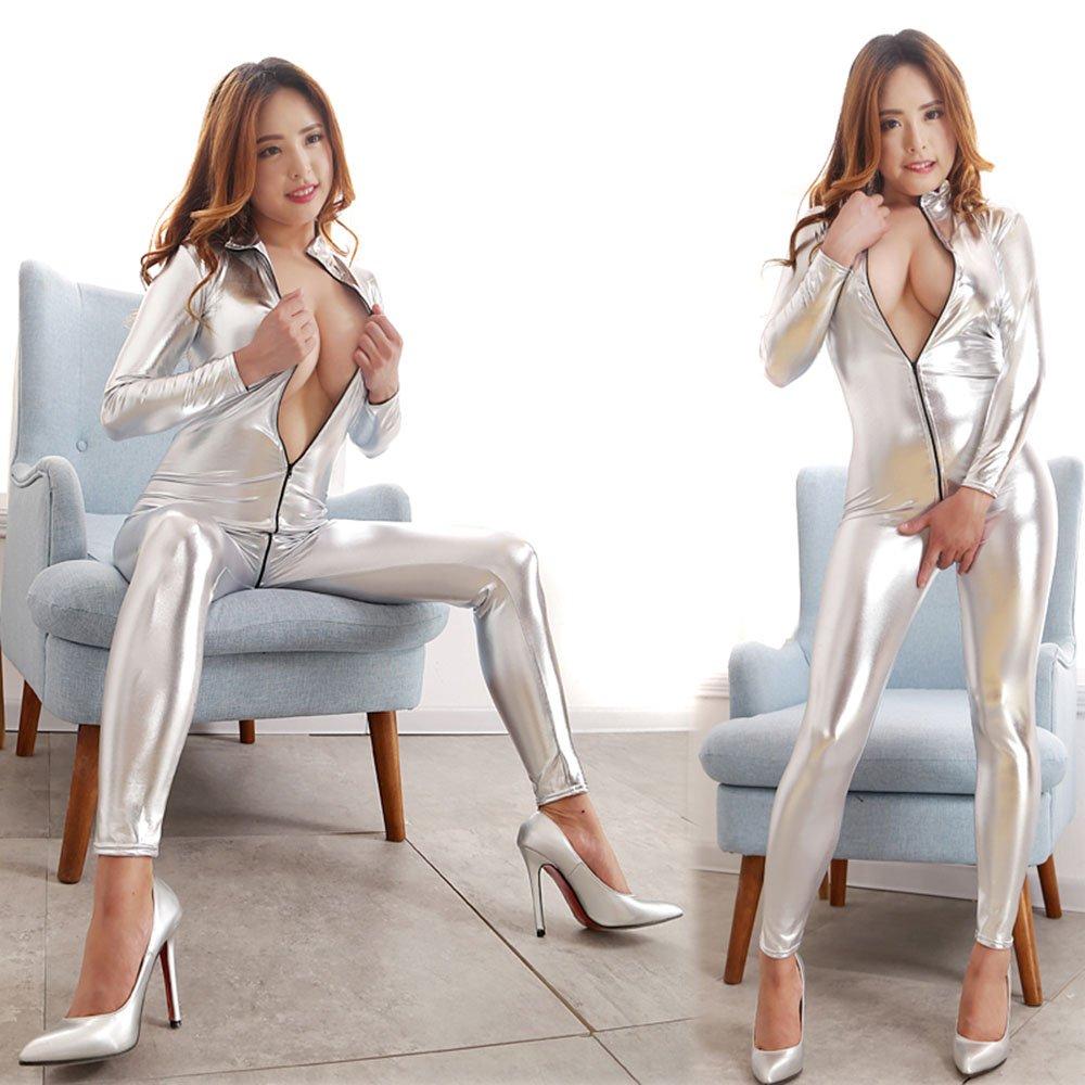 Love Secret Catsuit Women Bodysuit Zip up Clubwear Stripper Costumes (silver)