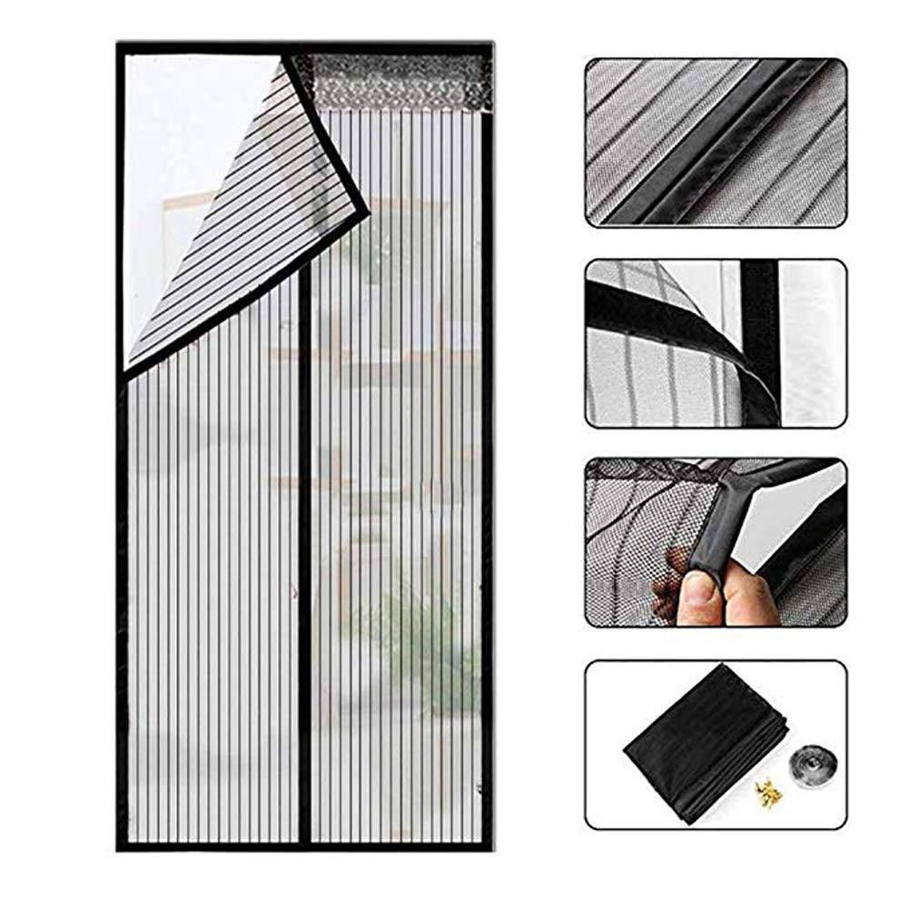 ZHANGQXIA Fly Screen Nets Fly Bug Mosquito Protector Kit Mosquito Insectos Malla Removible con Cinta Autoadhesiva Negro,90x210cm