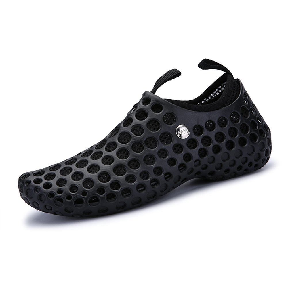 RaBia Mesh Hollow Soft Swim Shoes Breathable Flexible Sandals Separable Insoles Beach Shoes For Women and Men B0796TBHKZ 7 D(M) US|Black/Black