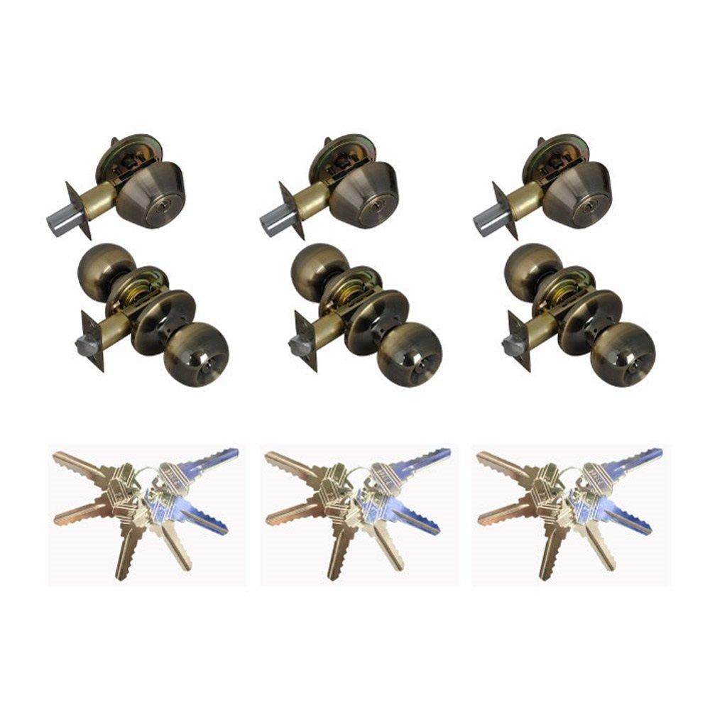 Grip Tight Tools Entry Door Knob and Single Cylinder Deadbolt Lock Combo Set, Keyed Alike, SC1 Keyway, Set of 3 (Antique Brass)