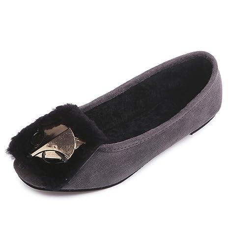Zapatos de las señoras de los pisos cómodos zapatos Fox suave caliente Slip-on ocasional