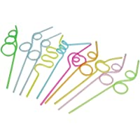 Nrpfell 10 pieces Straws with knots Curly Straws Straws Table Decoration for Kids Birthday Party Cocktail Decoration