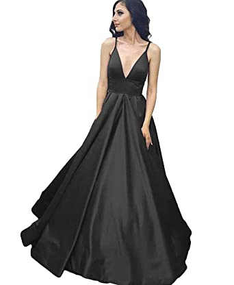 Little Star Long Black Prom Dresses 2018 For Women V Neck Evening Gown A Line Bridesmaid
