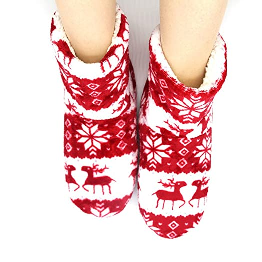 Ladies Women Indoor Home Slippers Flannel Deer Snowflake Bootie Plush Home Slipper Wooden Floor Shoes