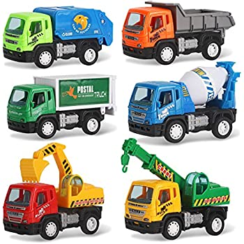 Liberty imports set of 6 pullback city builder for Tonka mighty motorized cement mixer
