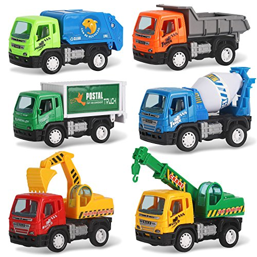 Liberty Imports Set of 6 Pullback City Builder Construction Vehicles Kids - Dump Truck, Cement Mixer, Garbage Truck, Excavator, Crane, Postal Truck