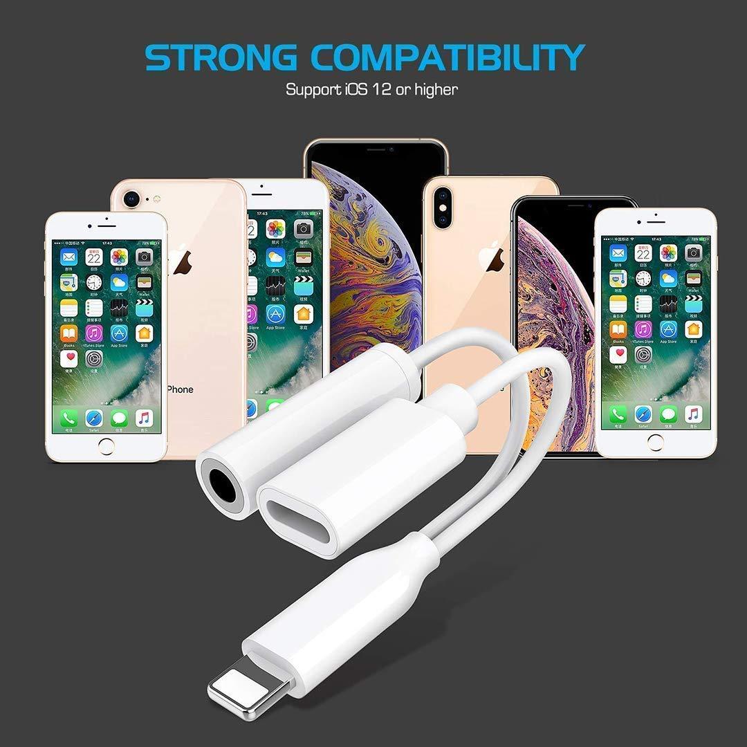 Adaptateur Casque pour iPhone Charge Aux 3.5 mm Jack Splitter /Écouteurs et Connecteur pour iPhone 7//7Plus//8Plus//X//XS de Musique et Charge et /écouteurs Audio Soutenir IOS12 ou Le dernier(Blanc)