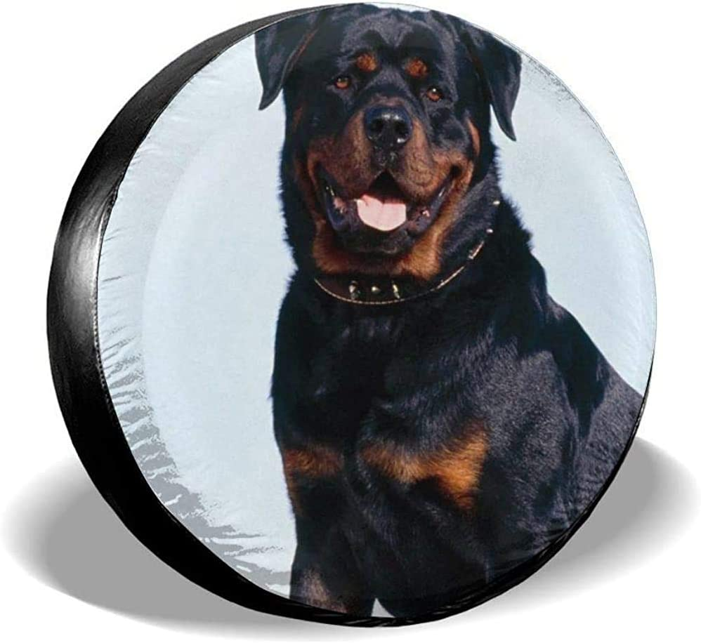 RV SUV Wheel Tire Cover lib-erty Spare Tire Cover,Protector Wheel Cover Fit for Trailer Casualty Black Rottweiler Dog Tire Cover