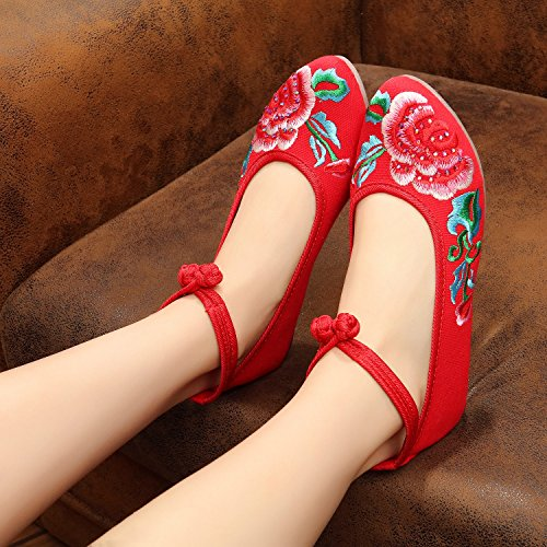 35 Tendón Casual Zapatos Zapatos De Mn Gamuza Étnico Red Cómodo Estilo Suela Moda Bordado Mujeres nRF6xwBp