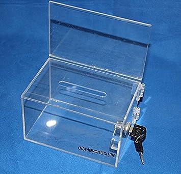 (pack de 2 unidades) Transparente Acrílico Sugerencia caja de donación de la Caridad,Cajas de Caridad acrílico con candado y llaves: Amazon.es: Hogar