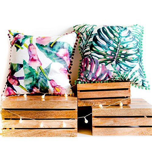 Bohemian Set Of 2 Tafetta Floral Tropical Leaves Designer Sofa Cushion Cover Decorative 18x18 With Zipper For Bedroom Couch Living Room Square Pillow Throws Cases Party Home Décor Standard Size
