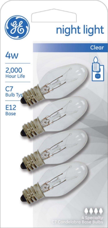 GE Night Light Bulb Standard, 4 Watt, Clear 4 ea (Pack of 2)