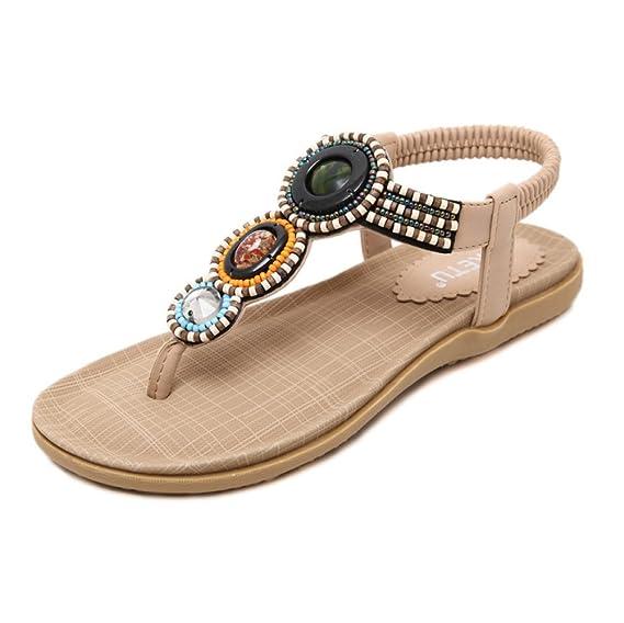 Nouvelles Sandales De Style Ethnique Des Femmes De Bohème De Sandales De Chaussures Des Femmes Pour Des Vacances,Black-EU:36/UK:4