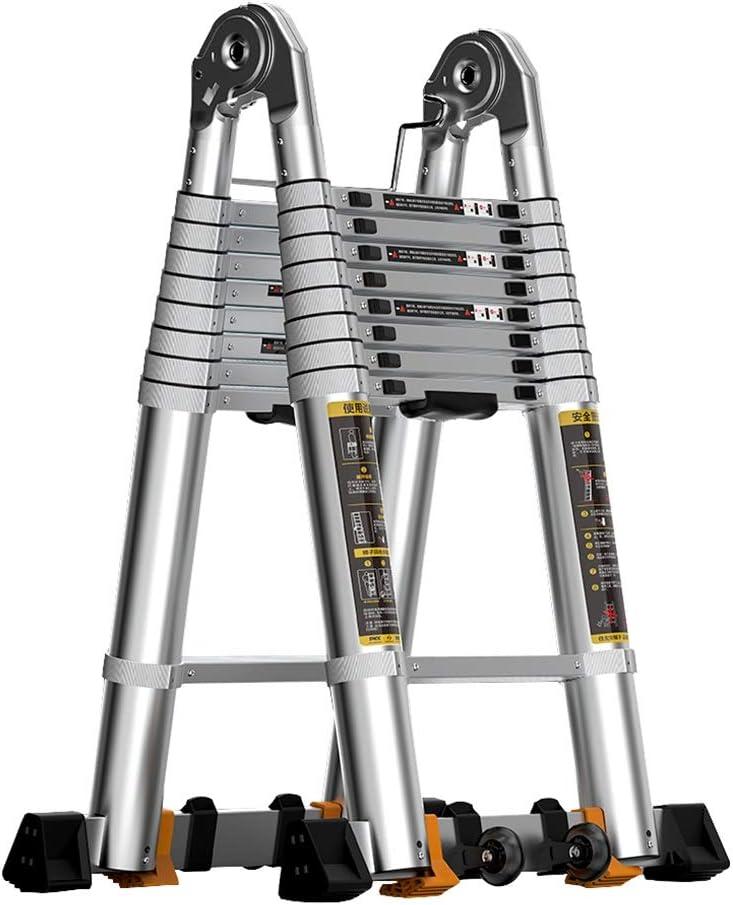 Erru Escalera Telescópica- De Aluminio Telescópica Escalera para Hogar/Aire Libre/De Negocios, Extensión Telescópica Plegable Escaleras Fácil De Trabajar, La Carga Máxima De 330 Libras: Amazon.es: Hogar