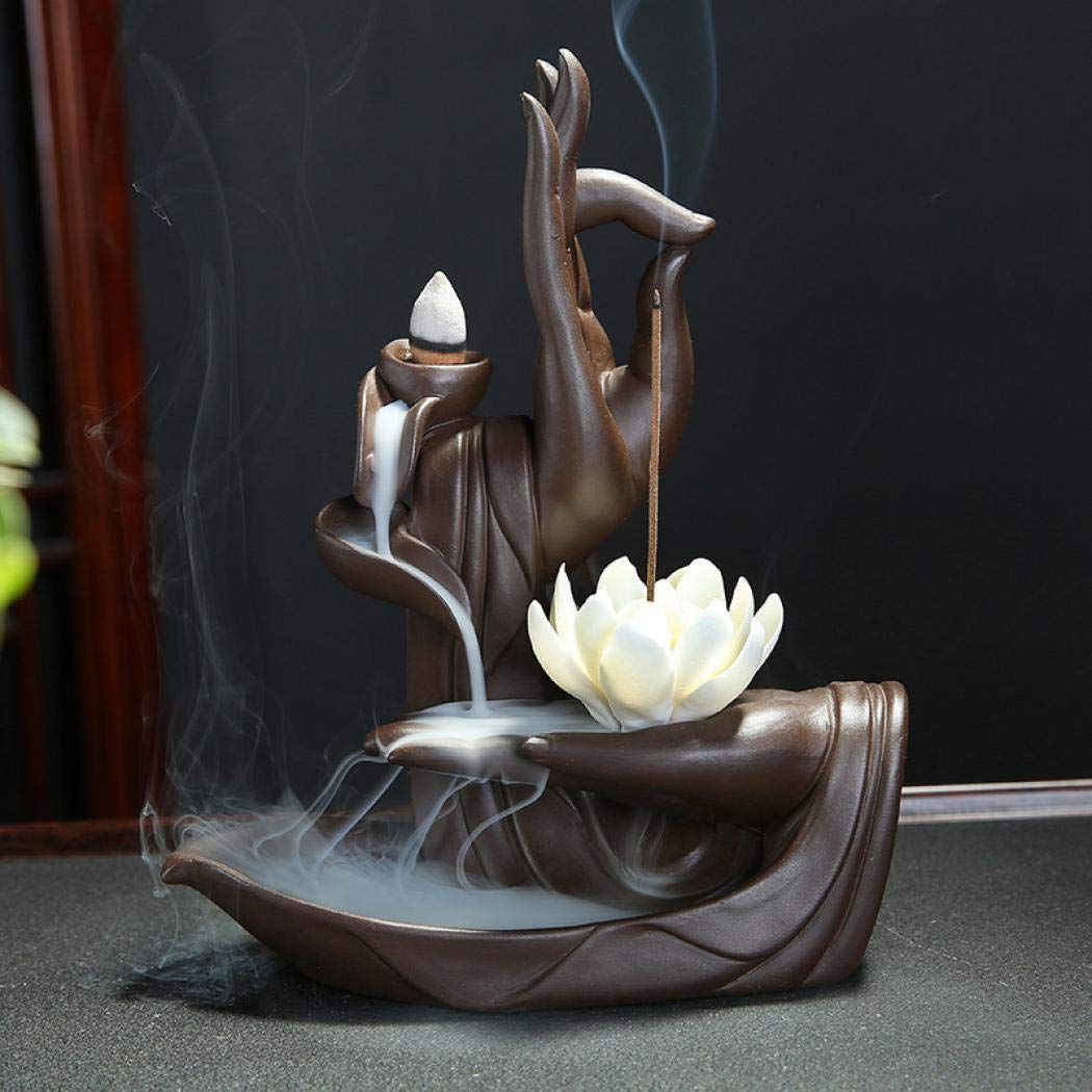 LEAFIS Buddha Incense Burner Handcraft Ceramic Statue Hand Backflow Incense Burner for Home Decor Decoration, with 10 Incense Cones (Lotus)