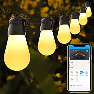 Govee 48ft Outdoor String Lights with Bluetooth App Control, Waterproof Shatterproof Patio Lights with 15 Dimmable Warm Yellow LED Bulbs, Decorative Outdoor Lights for Patio, Garden, Backyard, Party