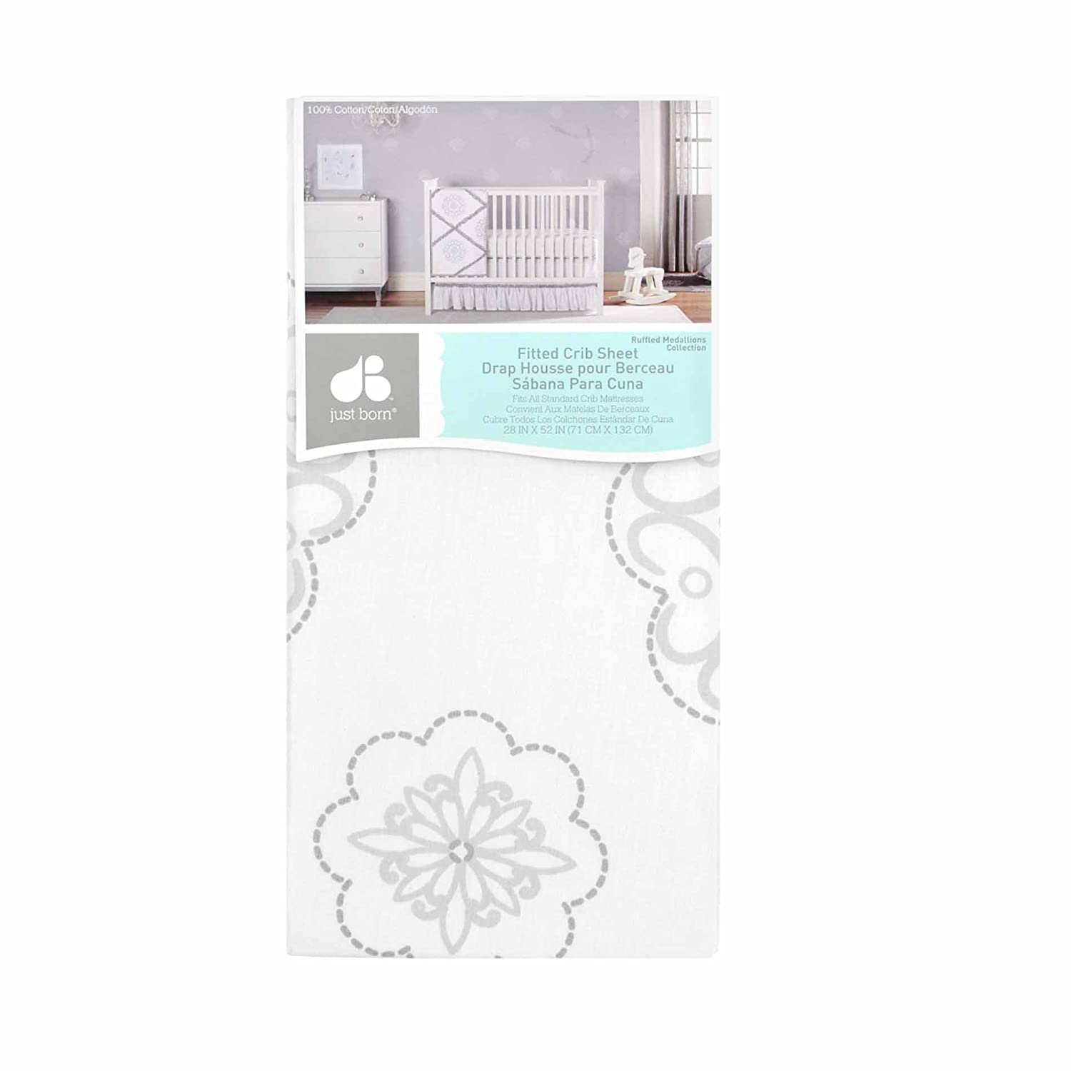 Amazon.com : Just Born 100% Cotton Fitted Crib Sheets, Gray/White Elephants : Baby