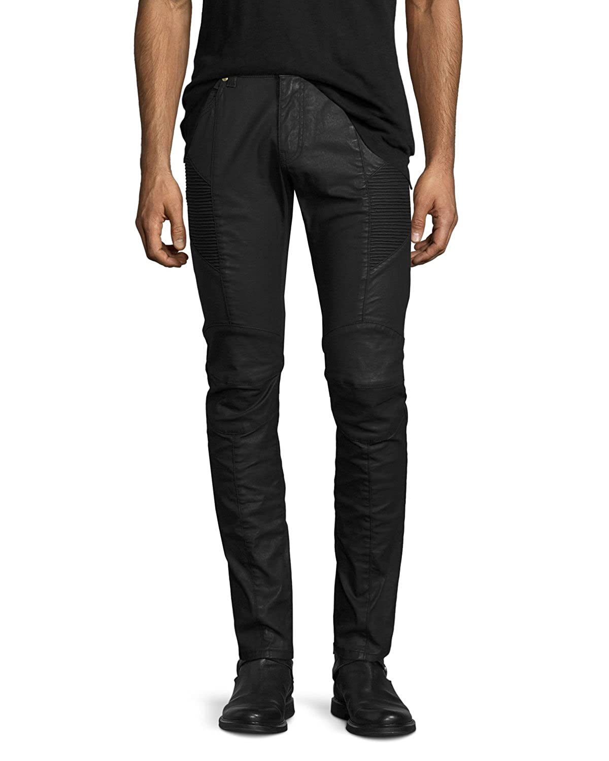 cda31afe Pierre Balmain Coated Biker Jeans with B Logo Pocket, Black ($775-Now $575)  at Amazon Men's Clothing store: