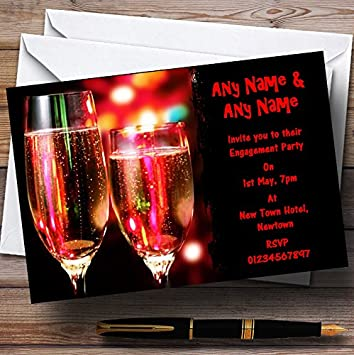 Red Champagne Glasses Wedding Anniversary Party Personalised Invitations