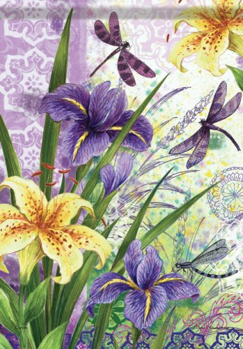 - Carson Flag Trends - Spring Summer Iris Dragonfly Double Sided Garden Flag 13 x 18