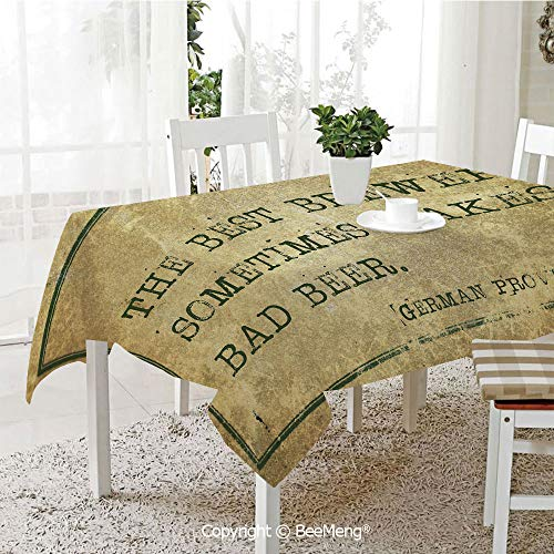 Dining Kitchen Polyester dust-Proof Table Cover,Man Cave Decor,Ancient German Proverb Words of Wisdom Brewer Beer Philosophy,Light Brown Army Green,Rectangular,59 x 59 inches - Army German Motorcycles