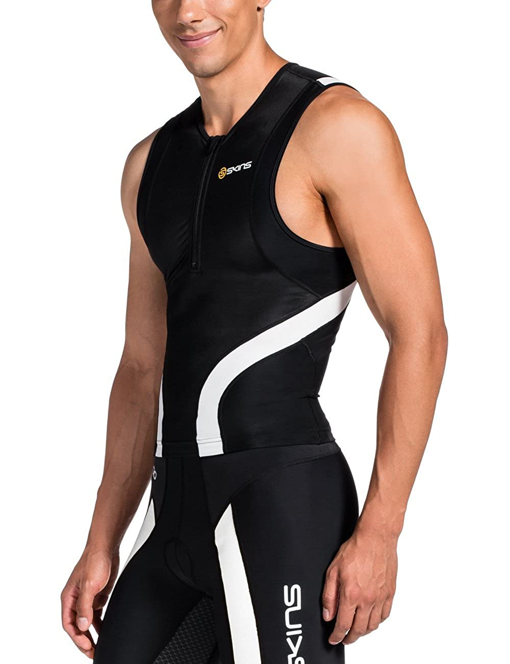 Skins Triathlon Sleeveless Half-Zip Compression Top