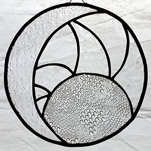 Handmade Stained Glass Sun Moon Clear Textured Panel Framed Wall Hanging Cosmic Suncatcher by Art Integrations
