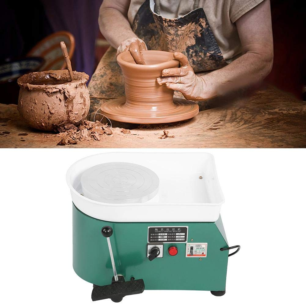 Aufee Pottery Wheel Machine, 350W Green Reliable Pottery Wheel Machine Ceramic Throwing Shaping Tool with Lever Pedal for Teaching, Entertainment(US Plug, 110V) by Aufee (Image #3)