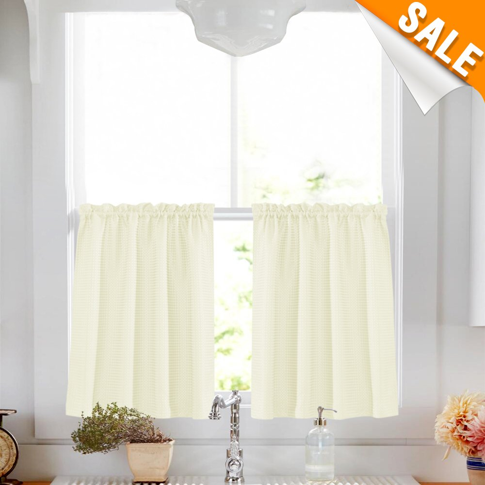 """Lazzzy Ivory Tier Curtains for Kitchen 36"""" Water Repellent Tiers for Bathroom Waffle Weave Textured Short Half Window Curtains 2 Panels Café Curtain"""