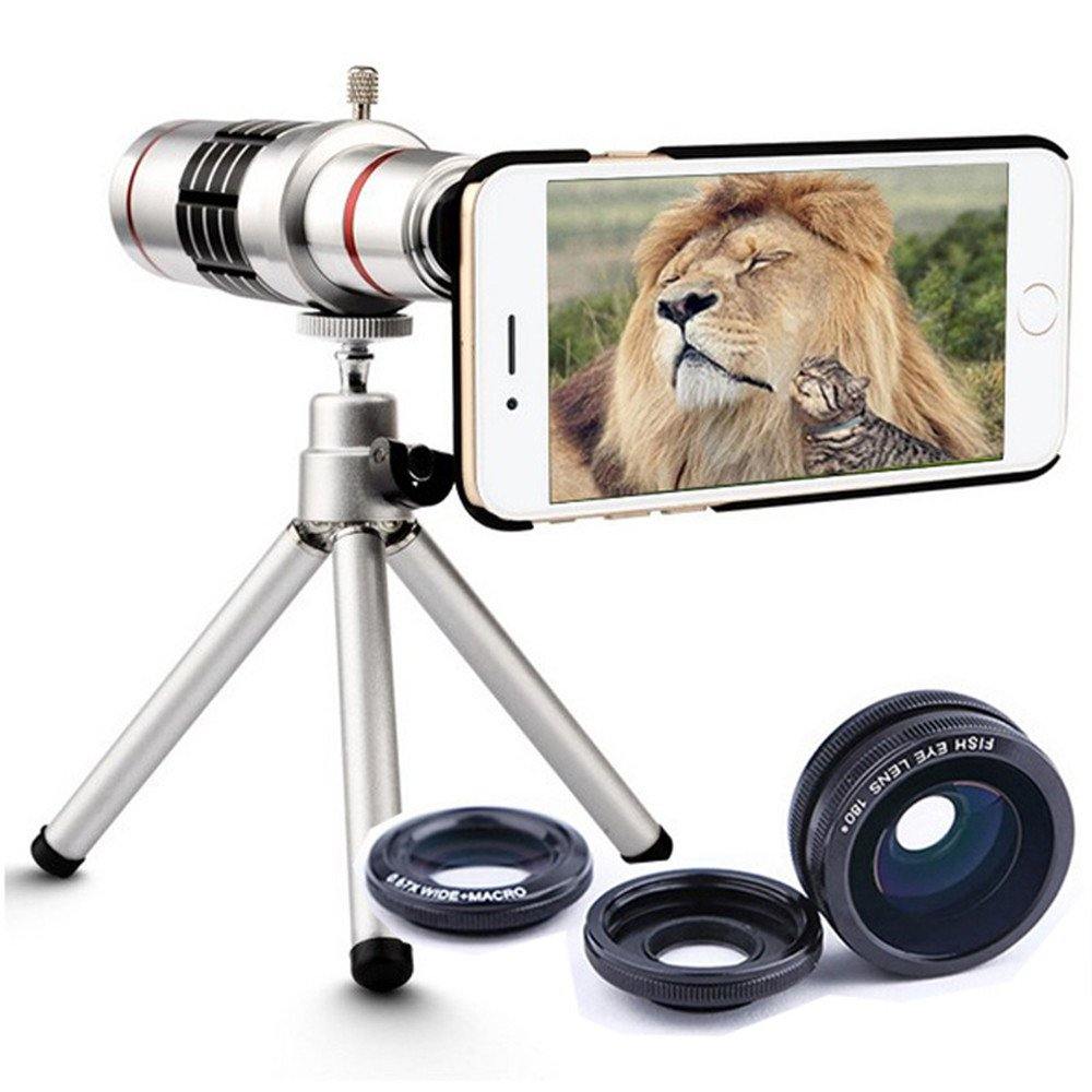 LQUIDE Mobile Phone Zoom Lens With Adjustable Angletripod,18X Optical Phone Camera Lens, Universal Optical Telescope Lens For Iphone (Silver),Iphone5/5S by LQUIDE