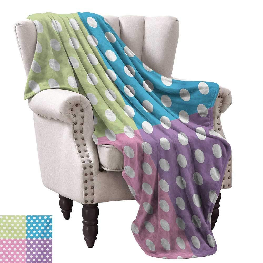color05 36 Wx60 L WinfreyDecor Polka Dots Living Room Bedroom Warm Blanket Polka Dots in Soft Rainbow colors Big Points Eternal Shapes Retro Artful Pattern All Season Light Weight Living Room 60  Wx60 L Multi
