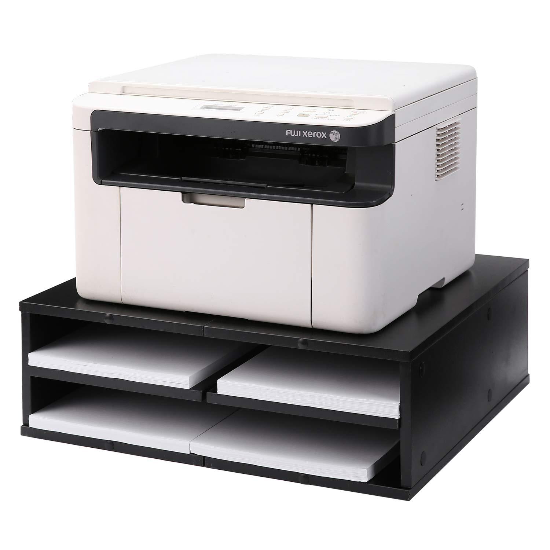 5Rcom Printer Stand Dual Computer Tabletop Monitor Stand Risers with Storage,Black Multifunctional Desktop Organizer/Shelf by 5Rcom