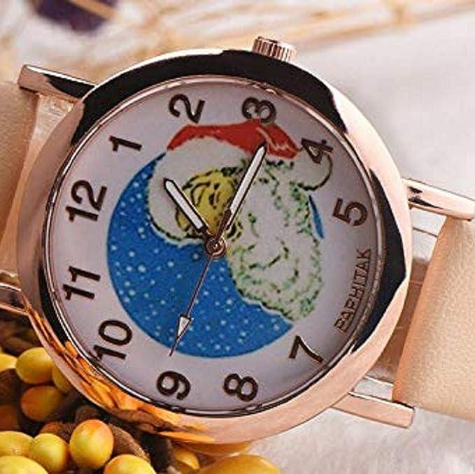 Scpink Mujeres Navidad Anciano Patrón Nuevo Relojes de Pulsera para Mujer Relojes analógicos Relojes Femeninos de Cuero (Negro): Amazon.es: Relojes