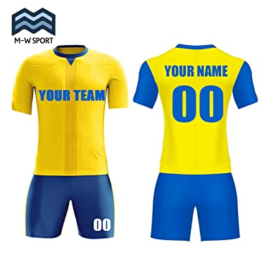 edad7ebde39 M-W Sports Blue and Yellow Soccer Uniforms Custom Team Jerseys With Name  and Number