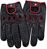 Genuine Nappa leather Driving Gloves Touchscreen Full finger Cycling Gym M Red