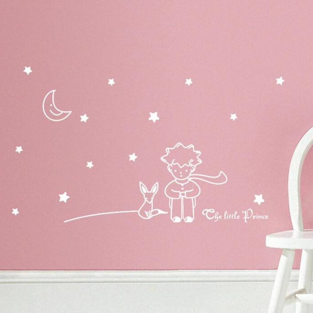 Stars Moon The Little Prince Boy Wall Sticker Home Decor Wall Decals for Kids (White)