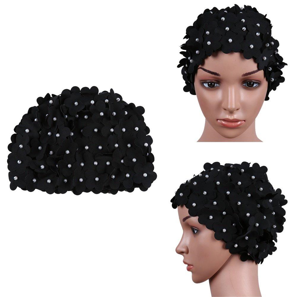 smartcoco 6色花びらスタイリッシュなSwim Cap水泳帽子お風呂シャワーキャップの女性 B07D77Z1MC Black-Pearl