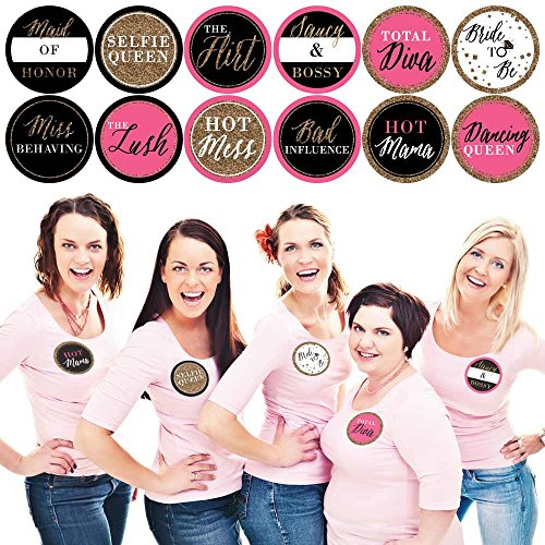 Girls Night Out - Bachelorette Party Name Tags - Party Badges Sticker Set of 12 -