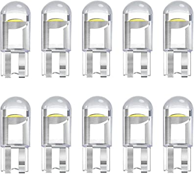 Noobibaba T10 168 194 W5W 2825 158 192 0.5W LED Bulb 12V Miniature Wedge Base Used for Car Lights License Plate Lights Side Marker Lights Map Door Courtesy Lights Cool White 6000K Pack of 10