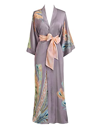 1920s Lingerie History- Slips, Steps Ins, Robes, Night Gowns and Bed Caps Old Shanghai Womens Kimono Robe Long - Watercolor Floral $98.00 AT vintagedancer.com