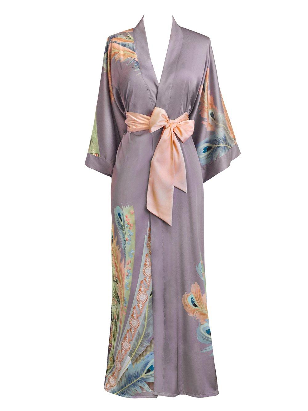 Old Shanghai Women's Kimono Robe Long - Watercolor Floral, Peacock Feather- Dusk