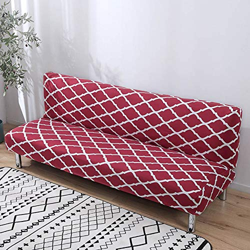 BERTERI Armless Sofa Cover Geometric Printed Wine Couch Cover Elastic Anti-Dirty Sofa Bed Slipcover for Home Decor
