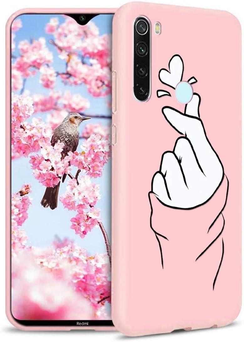 ZhuoFan Funda Xiaomi Redmi Note 8T, Cárcasa Silicona Rosa con Dibujos Diseño Suave Gel TPU Antigolpes de Protector Piel Case Cover Bumper Fundas para Movil Xiaomi Redmi Note 8T, Dedo del corazón