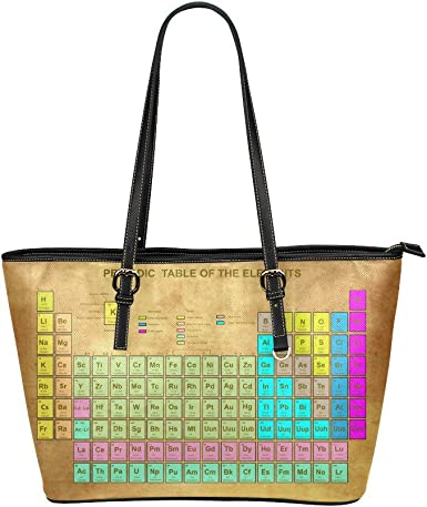 Use4 Womens Periodic Table of the Elements Rivet PU Leather Tote Bag Shoulder Bag Purse