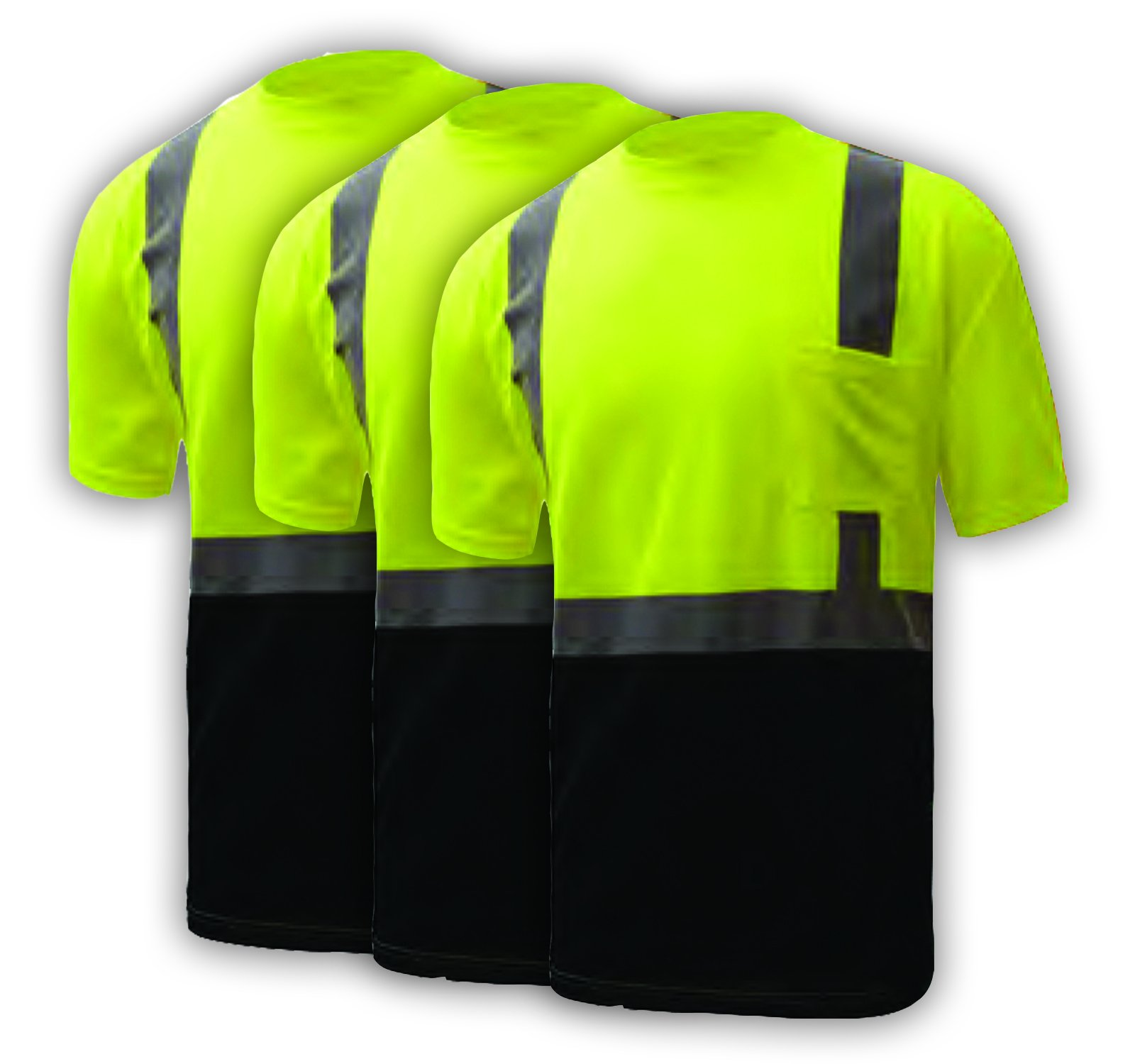 3 PACK: Class 2 Black Bottom T-Shirt (XXL) GSS Safety