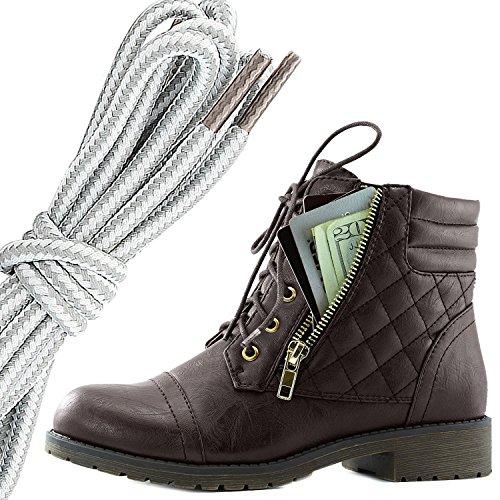 Dailyshoes Donna Militare Allacciatura Fibbia Stivali Da Combattimento Alla Caviglia Alta Tasca Esclusiva Per Carte Di Credito, Grigio Bianco Marrone Pu